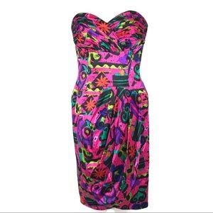 A.J. Bari 80s Abstract Print Silk Strapless Dress